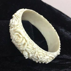 Vintage 1920's floral carved celluloid bracelet